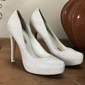 BCBGeneration White Embossed Leather Platform Heel